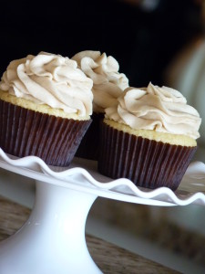 Vanilla cupcake, topped with brown sugar buttercream